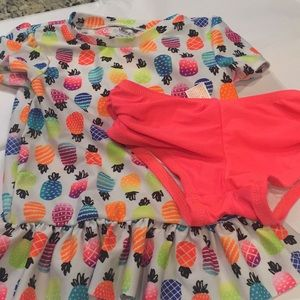 Cat & Jack Two Piece Neon Shirt Top Swim Suit